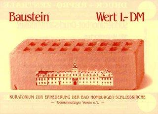 Symbolischer Baustein für den Wiederaufbau der Schlosskirche